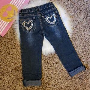 🚨5 FOR $23   Girl's 4T Sequin Heart Pocket Jean